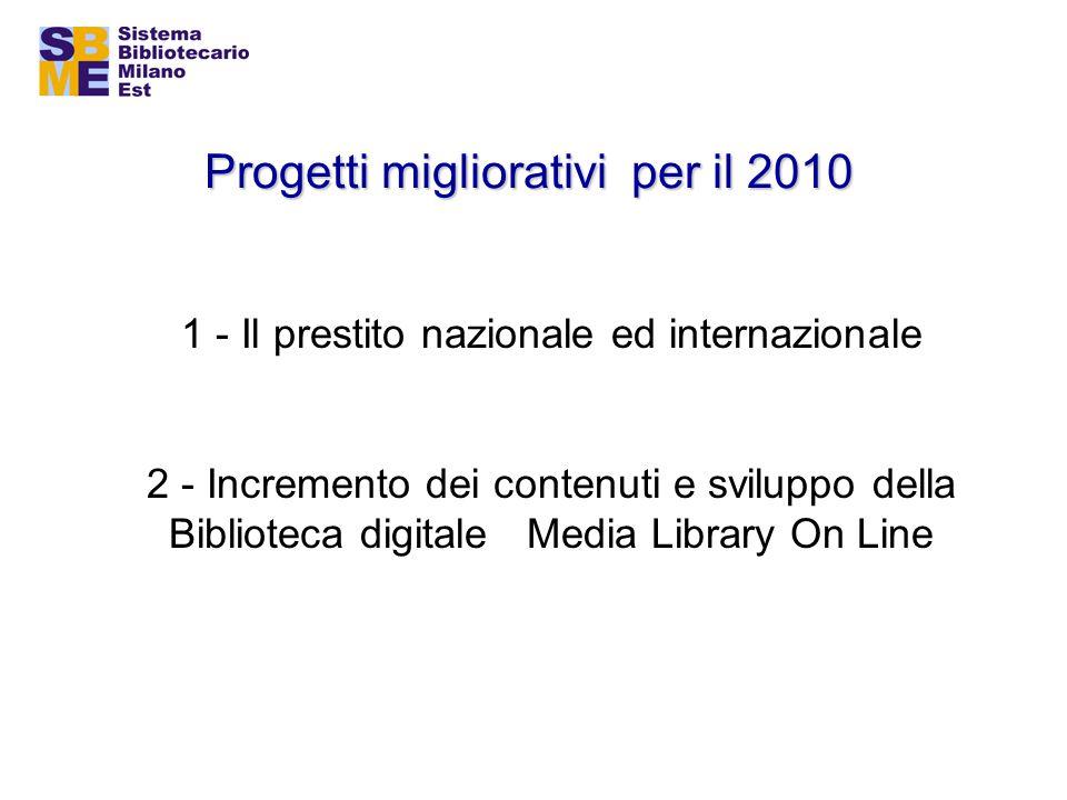 Progetti migliorativi per il 2010 1 - Il prestito nazionale ed internazionale 2 - Incremento dei contenuti e sviluppo della Biblioteca digitale Media Library On Line