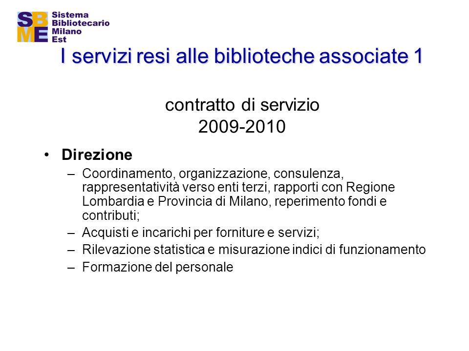 I servizi resi alle biblioteche associate 1 I servizi resi alle biblioteche associate 1 contratto di servizio 2009-2010 Direzione –Coordinamento, orga