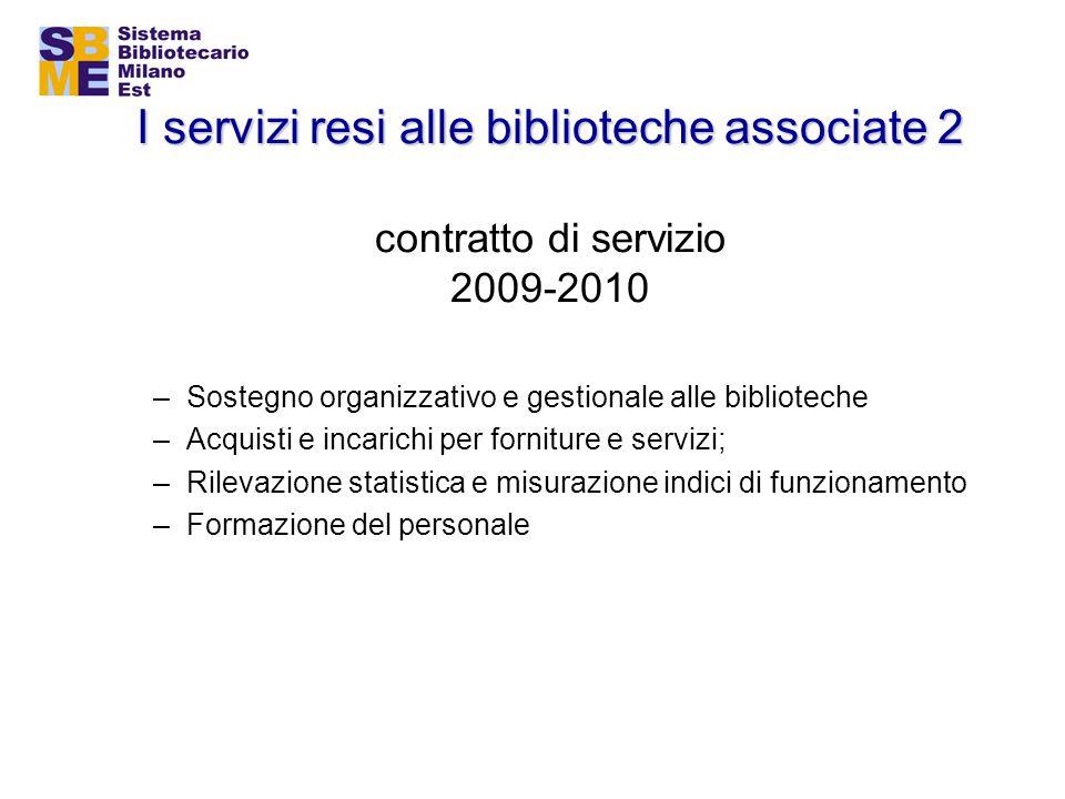 I servizi resi alle biblioteche associate 2 I servizi resi alle biblioteche associate 2 contratto di servizio 2009-2010 –Sostegno organizzativo e gest