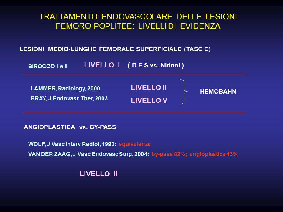 TRATTAMENTO ENDOVASCOLARE DELLE LESIONI FEMORO-POPLITEE: LIVELLI DI EVIDENZA LESIONI MEDIO-LUNGHE FEMORALE SUPERFICIALE (TASC C) SIROCCO I e II LIVELLO I ( D.E.S vs.