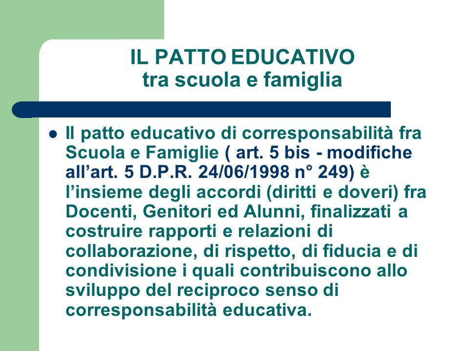 IL PATTO EDUCATIVO tra scuola e famiglia Il patto educativo di corresponsabilità fra Scuola e Famiglie ( art. 5 bis - modifiche all'art. 5 D.P.R. 24/0