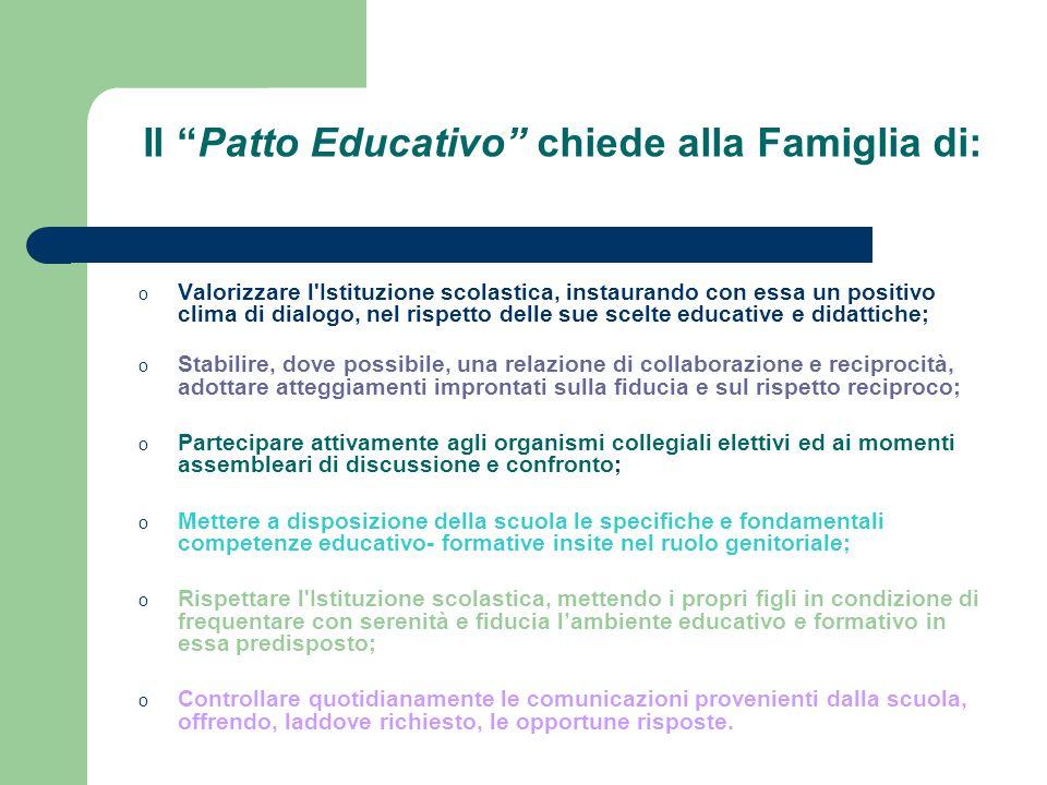 """Il """"Patto Educativo"""" chiede alla Famiglia di: o Valorizzare l'Istituzione scolastica, instaurando con essa un positivo clima di dialogo, nel rispetto"""