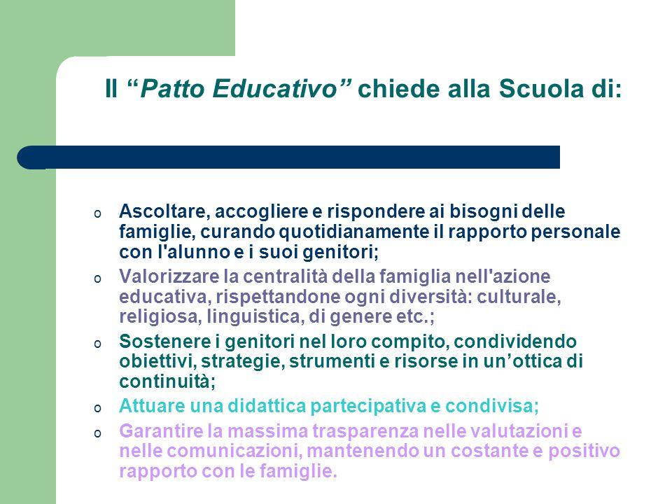 """Il """"Patto Educativo"""" chiede alla Scuola di: o Ascoltare, accogliere e rispondere ai bisogni delle famiglie, curando quotidianamente il rapporto person"""