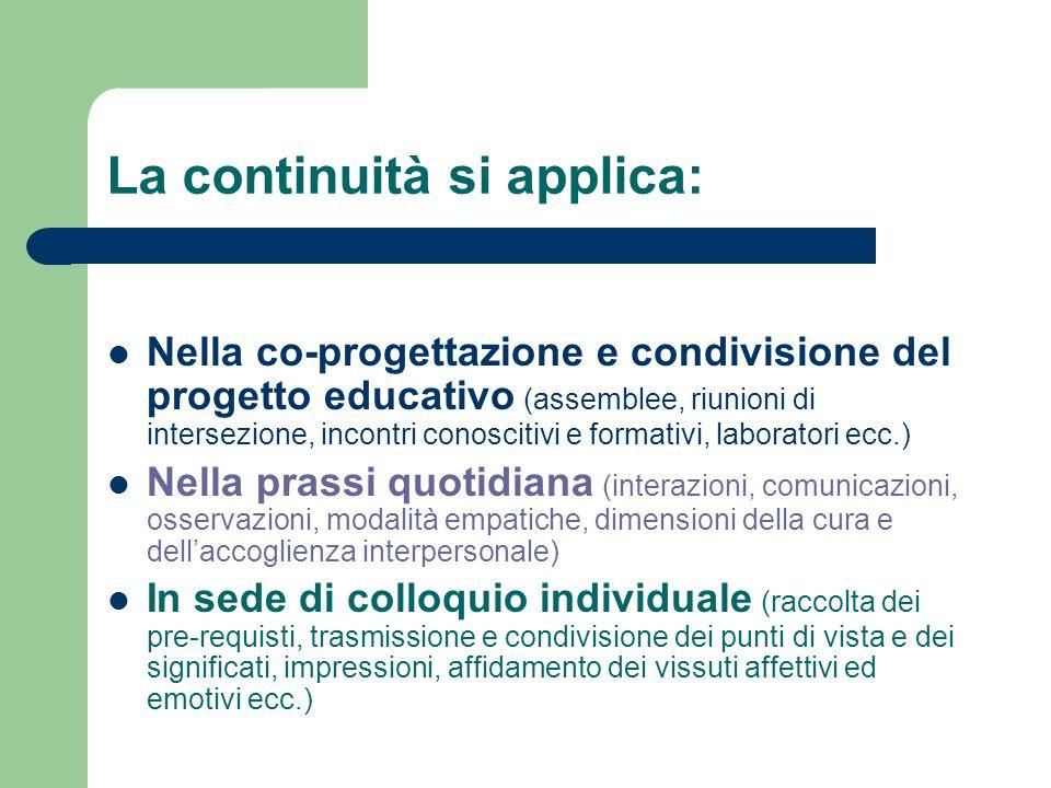 La continuità si applica: Nella co-progettazione e condivisione del progetto educativo (assemblee, riunioni di intersezione, incontri conoscitivi e fo