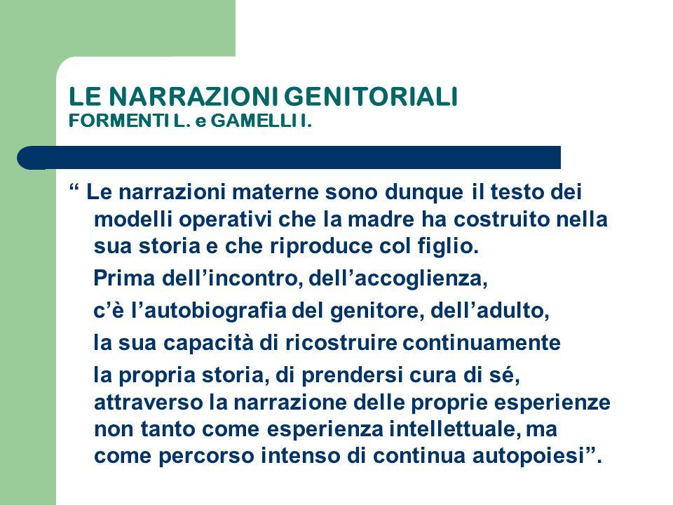 """LE NARRAZIONI GENITORIALI FORMENTI L. e GAMELLI I. """" Le narrazioni materne sono dunque il testo dei modelli operativi che la madre ha costruito nella"""