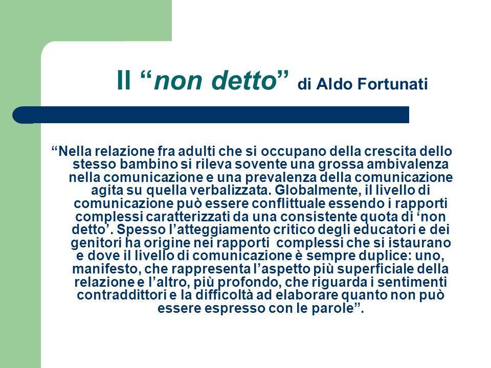 """Il """"non detto"""" di Aldo Fortunati """"Nella relazione fra adulti che si occupano della crescita dello stesso bambino si rileva sovente una grossa ambivale"""