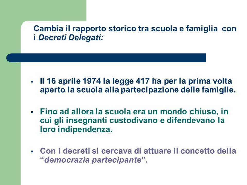 Cambia il rapporto storico tra scuola e famiglia con i Decreti Delegati:  Il 16 aprile 1974 la legge 417 ha per la prima volta aperto la scuola alla