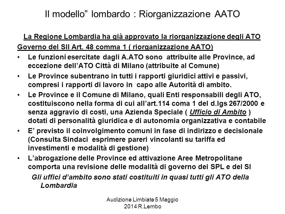 Audizione Limbiate 5 Maggio 2014 R.Lembo Il modello lombardo : Riorganizzazione AATO La Regione Lombardia ha già approvato la riorganizzazione degli ATO Governo del SII Art.