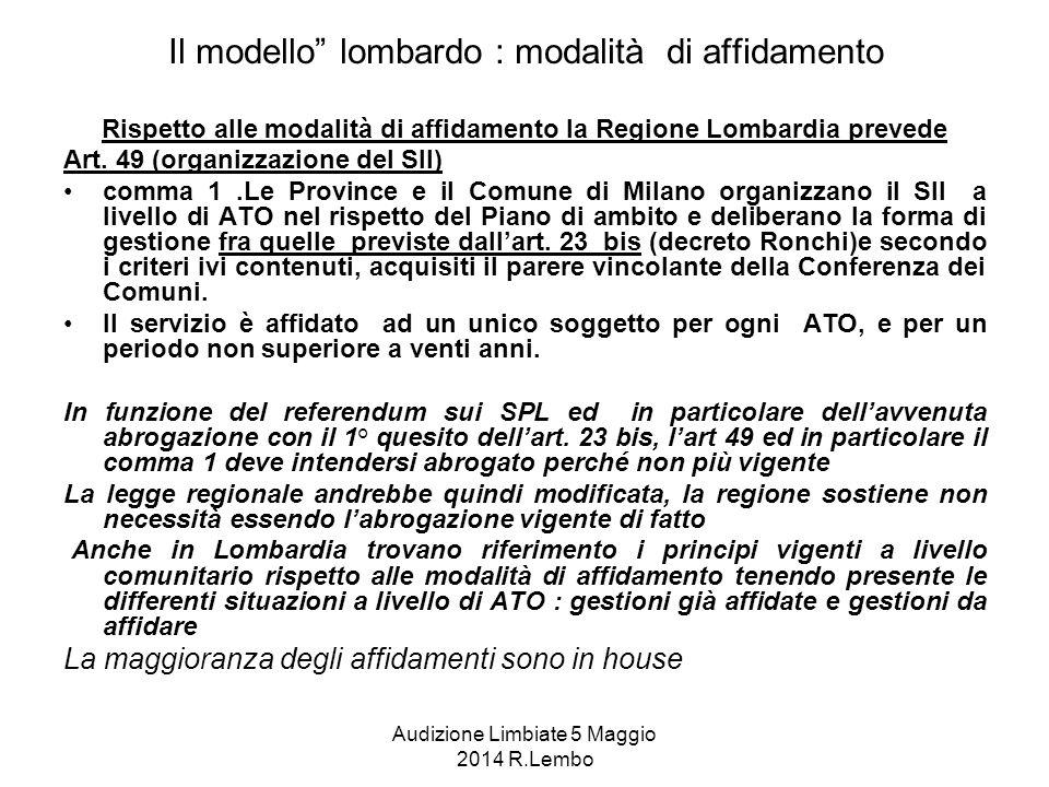 Audizione Limbiate 5 Maggio 2014 R.Lembo Il modello lombardo : modalità di affidamento Rispetto alle modalità di affidamento la Regione Lombardia prevede Art.