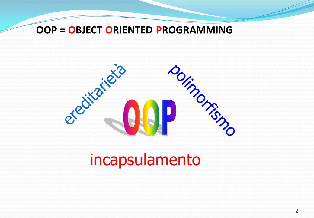 Incapsulamento Con il termine incapsulamento si indica la proprietà degli oggetti di incorporare al loro interno sia gli attributi che i metodi, cioè le caratteristiche e i comportamenti dell'oggetto.