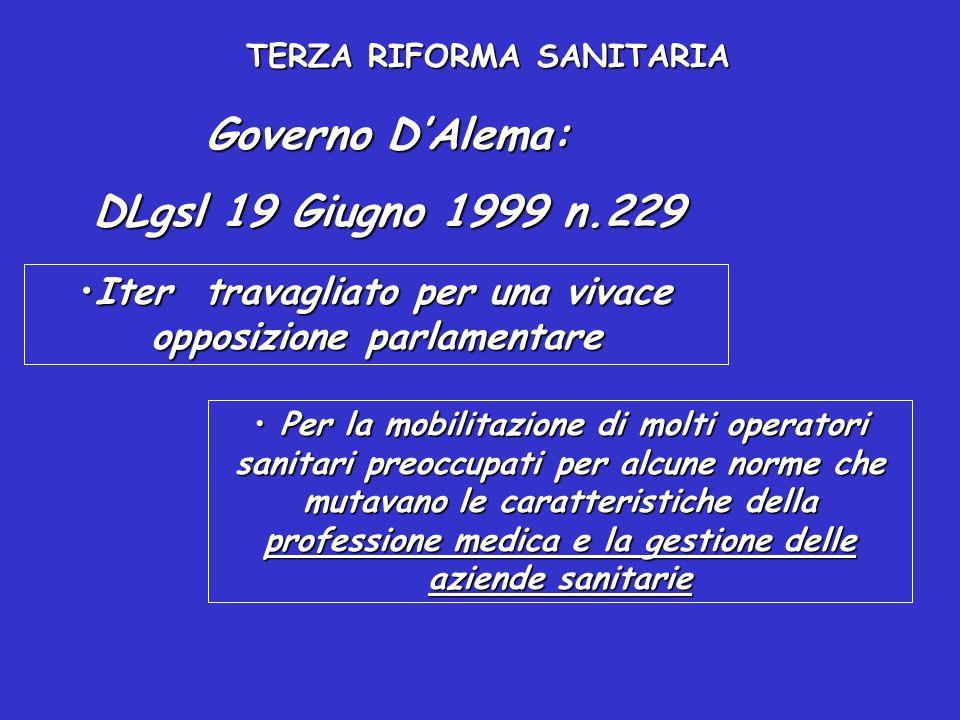 TERZA RIFORMA SANITARIA LA NUOVA DISCIPLINA NON INCLUDE ALCUNA INDICAZIONE SULLE DIMENSIONI DELLE AZIENDE DIRETTORE GENERALE E COLLEGIO SINDACALE: Organi dell'azienda sanitaria Il D.G.