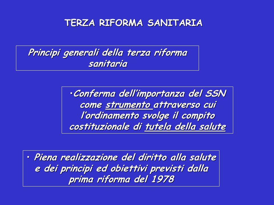 TERZA RIFORMA SANITARIA LA REGIONE HA LA RESPONSABILITA' DI STABILIRE I CRITERI GENERALI DI VALUTAZIONE DELL'OPERATO DEI D.G.
