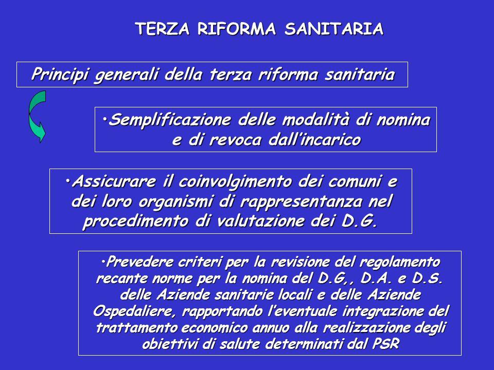 TERZA RIFORMA SANITARIA Principi generali della terza riforma sanitaria Ridefinizione dei requisiti dei Direttori Generali:Ridefinizione dei requisiti