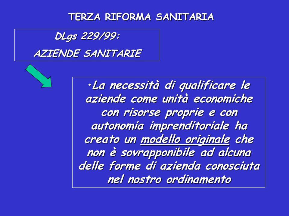 TERZA RIFORMA SANITARIA DLgs 229/99: AZIENDE SANITARIE Delinea una figura di azienda sanitaria in grado di soddisfare efficacemente tutti i requisiti