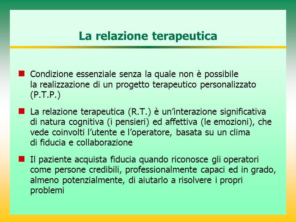La relazione terapeutica Condizione essenziale senza la quale non è possibile la realizzazione di un progetto terapeutico personalizzato (P.T.P.) La r
