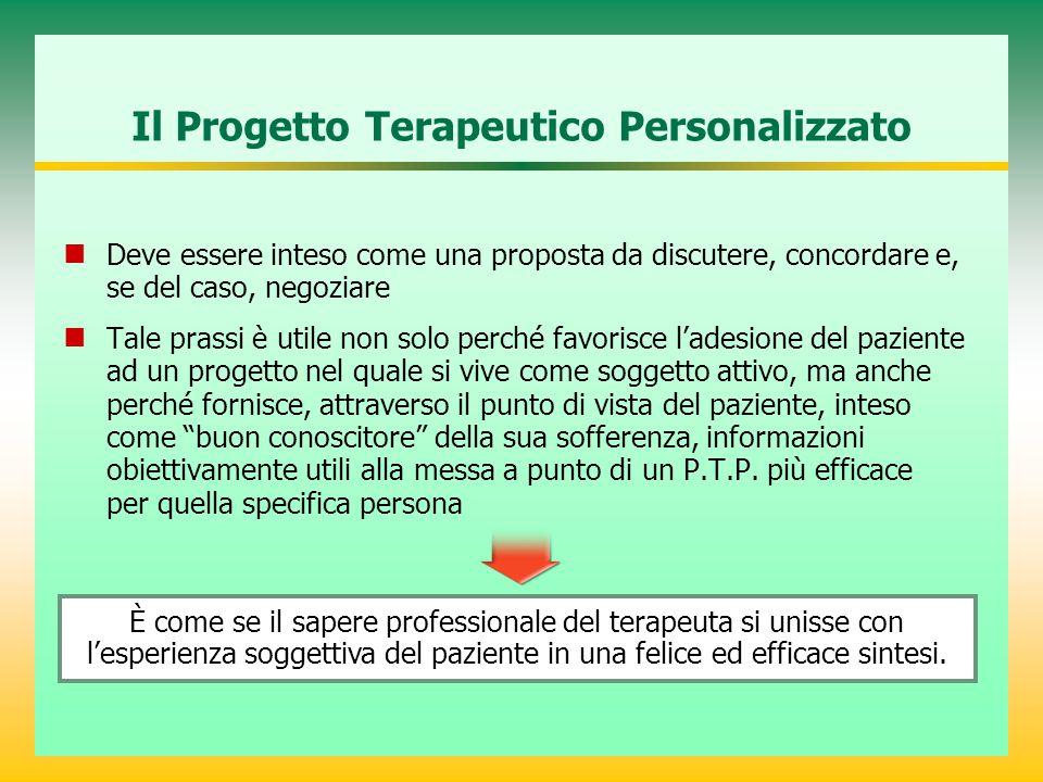 Il Progetto Terapeutico Personalizzato Deve essere inteso come una proposta da discutere, concordare e, se del caso, negoziare Tale prassi è utile non