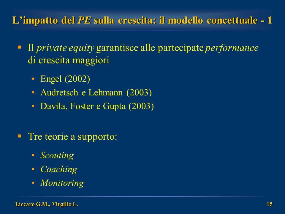 Liccaro G.M., Virgilio L. 15 L'impatto del PE sulla crescita: il modello concettuale - 1  Il private equity garantisce alle partecipate performance d