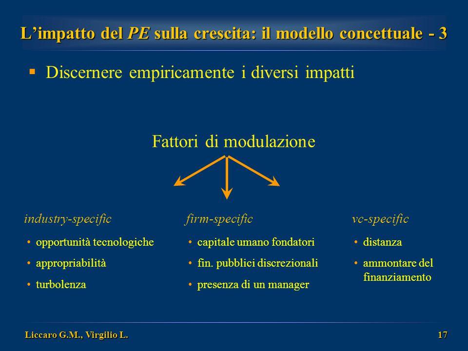 Liccaro G.M., Virgilio L. 17 L'impatto del PE sulla crescita: il modello concettuale - 3  Discernere empiricamente i diversi impatti industry-specifi