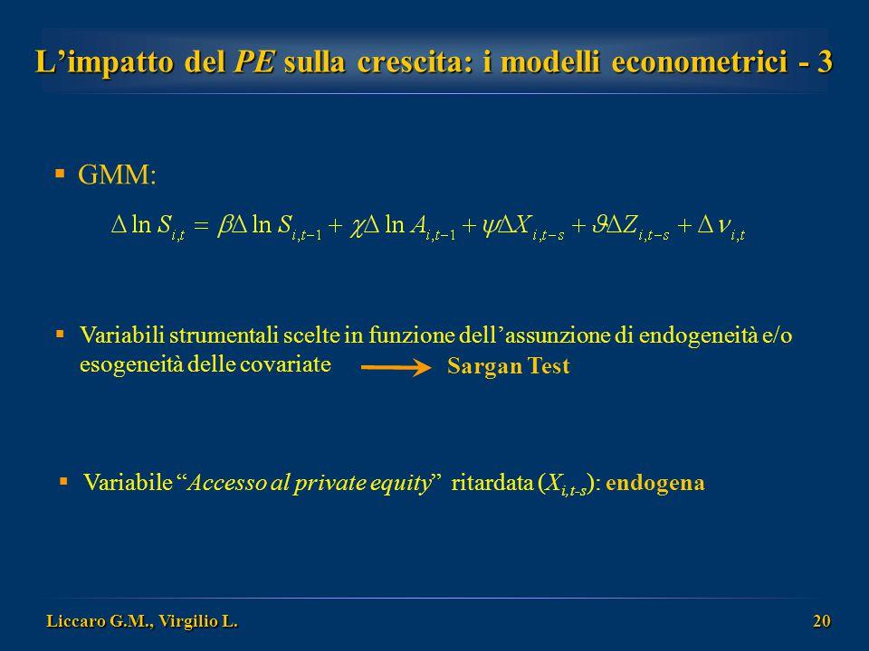 Liccaro G.M., Virgilio L. 20 L'impatto del PE sulla crescita: i modelli econometrici - 3  GMM:  Variabili strumentali scelte in funzione dell'assunz