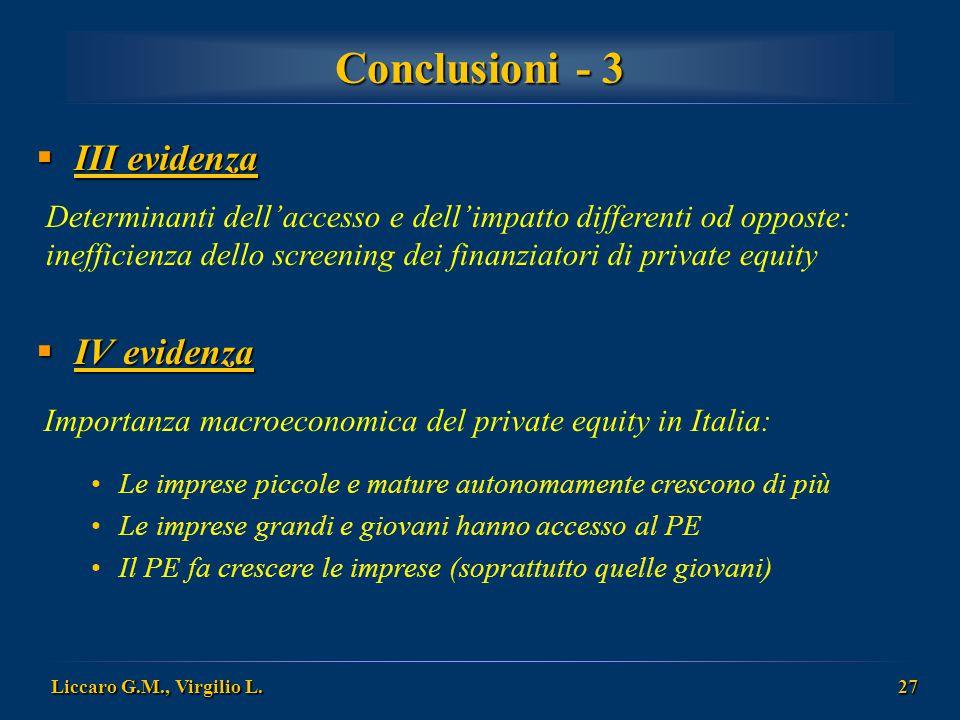 Liccaro G.M., Virgilio L. 27 Conclusioni - 3 Determinanti dell'accesso e dell'impatto differenti od opposte: inefficienza dello screening dei finanzia