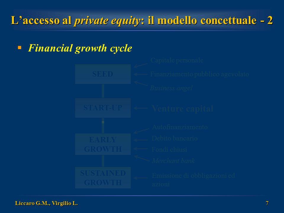 Liccaro G.M., Virgilio L. 7 L'accesso al private equity: il modello concettuale - 2  Financial growth cycle Capitale personale Business angel Finanzi