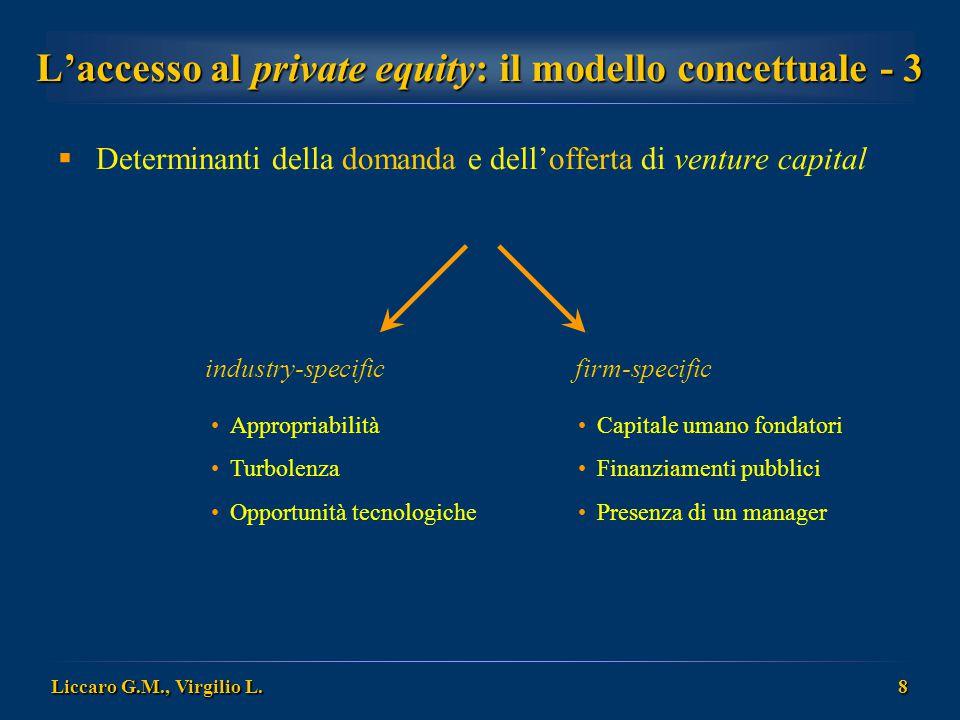 Liccaro G.M., Virgilio L. 8 Capitale umano fondatori Finanziamenti pubblici Presenza di un manager  Determinanti della domanda e dell'offerta di vent