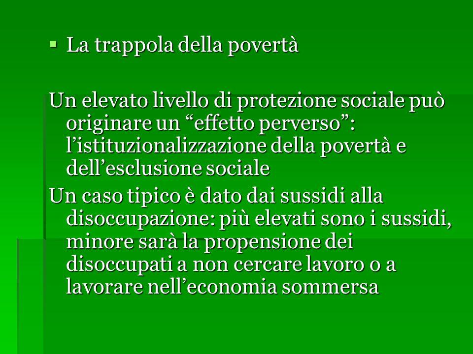 """ La trappola della povertà Un elevato livello di protezione sociale può originare un """"effetto perverso"""": l'istituzionalizzazione della povertà e dell"""
