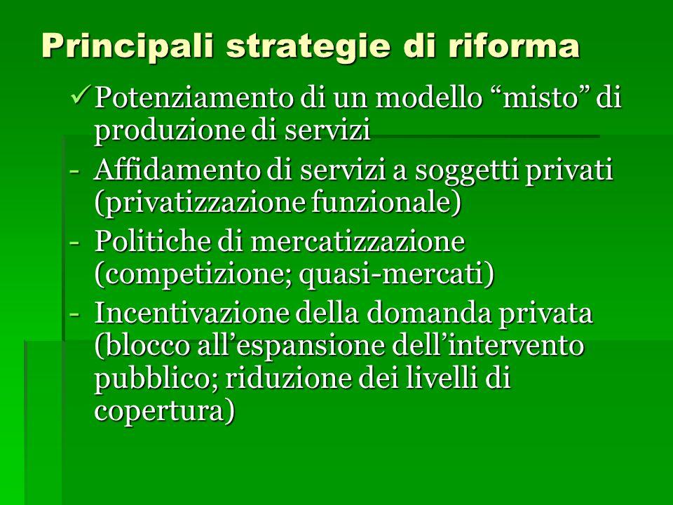 """Principali strategie di riforma Potenziamento di un modello """"misto"""" di produzione di servizi Potenziamento di un modello """"misto"""" di produzione di serv"""