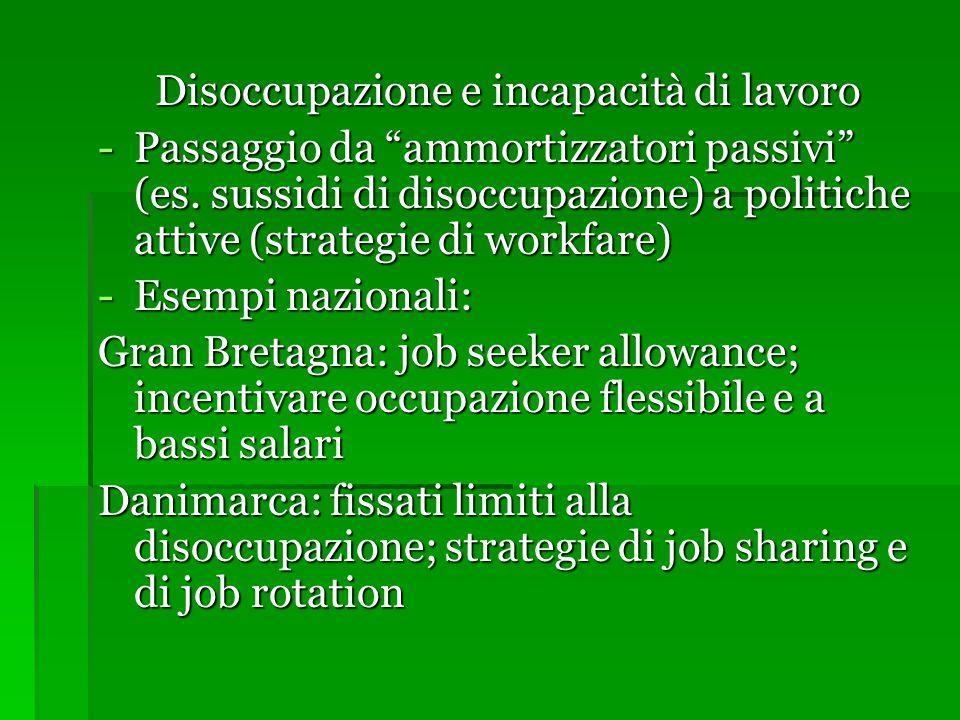 """Disoccupazione e incapacità di lavoro -Passaggio da """"ammortizzatori passivi"""" (es. sussidi di disoccupazione) a politiche attive (strategie di workfare"""