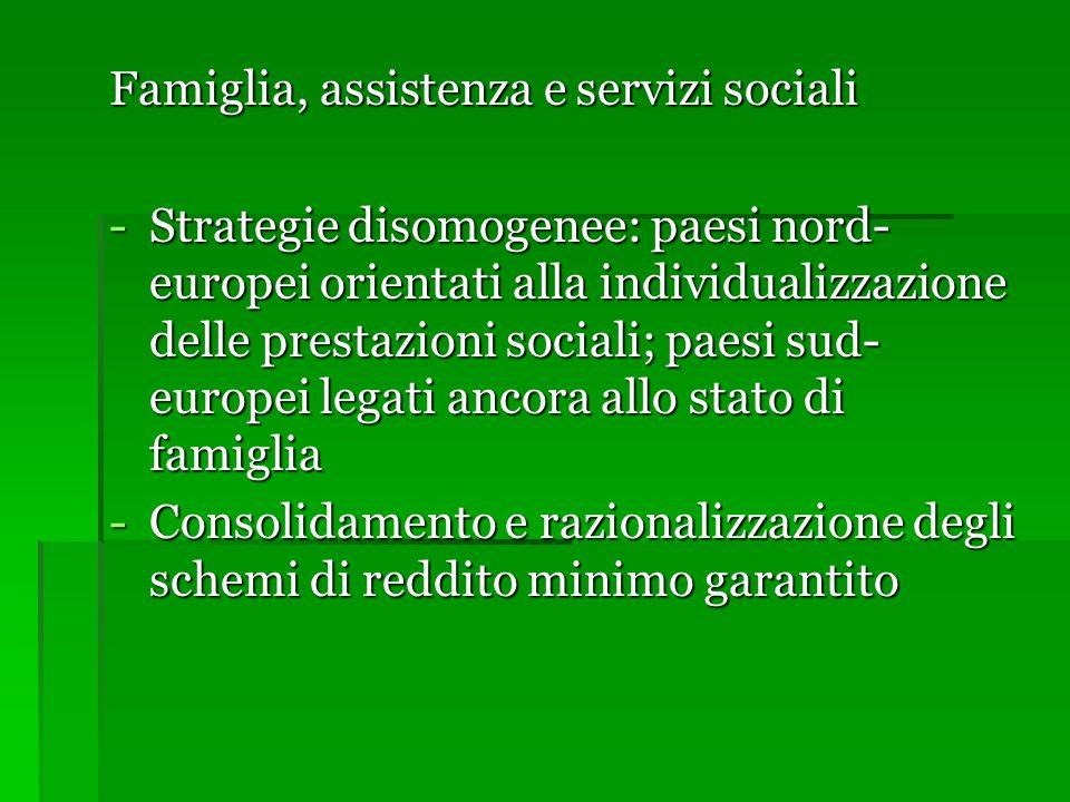 Famiglia, assistenza e servizi sociali -Strategie disomogenee: paesi nord- europei orientati alla individualizzazione delle prestazioni sociali; paesi sud- europei legati ancora allo stato di famiglia -Consolidamento e razionalizzazione degli schemi di reddito minimo garantito