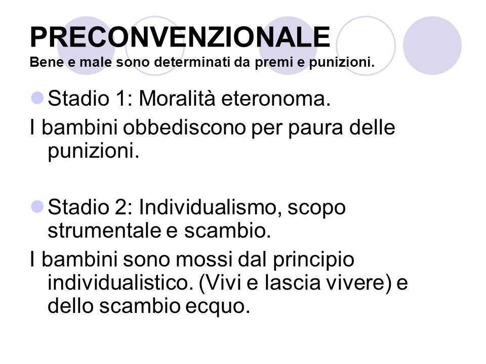 CONVENZIONALE Applicazione dei principi decisi dagli altri Stadio 3: Aspettative interpersonali reciproche, relazioni e conformità interpersonale.