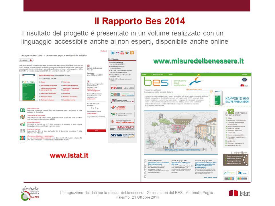 Il Rapporto Bes 2014 Il risultato del progetto è presentato in un volume realizzato con un linguaggio accessibile anche ai non esperti, disponibile anche online www.istat.it www.misuredelbenessere.it L'integrazione dei dati per la misura del benessere.