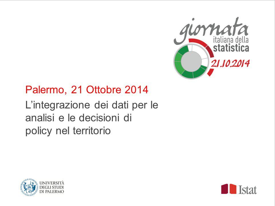 Palermo, 21 Ottobre 2014 L'integrazione dei dati per le analisi e le decisioni di policy nel territorio Logo 1