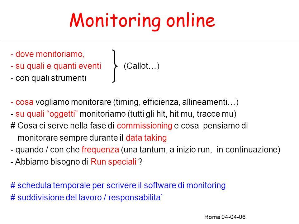 Monitoring online - dove monitoriamo, - su quali e quanti eventi (Callot…) - con quali strumenti - cosa vogliamo monitorare (timing, efficienza, allineamenti…) - su quali oggetti monitoriamo (tutti gli hit, hit mu, tracce mu) # Cosa ci serve nella fase di commissioning e cosa pensiamo di monitorare sempre durante il data taking - quando / con che frequenza (una tantum, a inizio run, in continuazione) - Abbiamo bisogno di Run speciali .