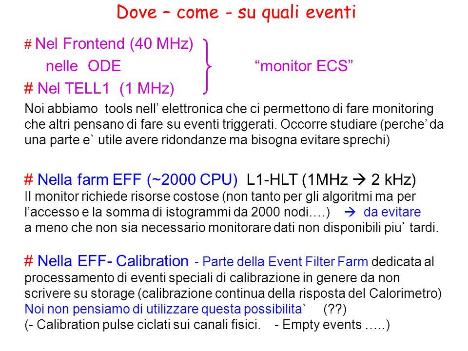 Dove – come - su quali eventi # Nel Frontend (40 MHz) nelle ODE monitor ECS # Nel TELL1 (1 MHz) Noi abbiamo tools nell' elettronica che ci permettono di fare monitoring che altri pensano di fare su eventi triggerati.