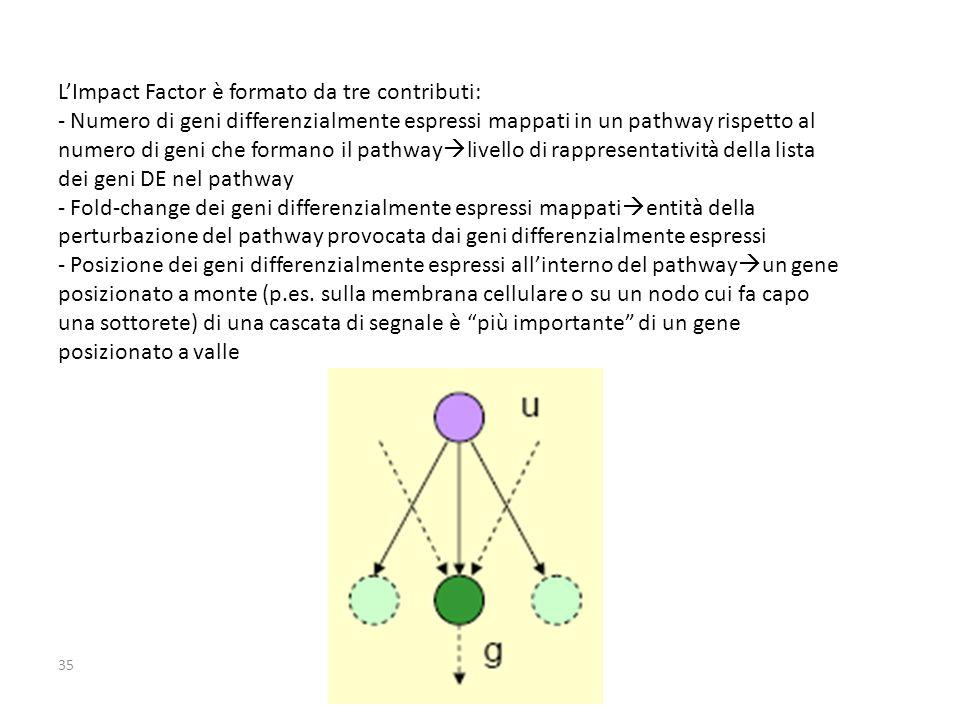 35 L'Impact Factor è formato da tre contributi: - Numero di geni differenzialmente espressi mappati in un pathway rispetto al numero di geni che formano il pathway  livello di rappresentatività della lista dei geni DE nel pathway - Fold-change dei geni differenzialmente espressi mappati  entità della perturbazione del pathway provocata dai geni differenzialmente espressi - Posizione dei geni differenzialmente espressi all'interno del pathway  un gene posizionato a monte (p.es.