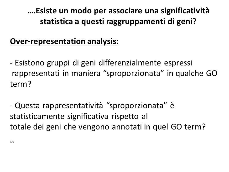 ….Esiste un modo per associare una significatività statistica a questi raggruppamenti di geni? 68 Over-representation analysis: - Esistono gruppi di g