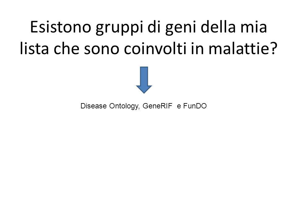 Esistono gruppi di geni della mia lista che sono coinvolti in malattie? Disease Ontology, GeneRIF e FunDO