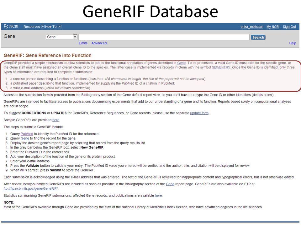 GeneRIF Database