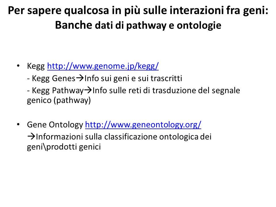 Per sapere qualcosa in più sulle interazioni fra geni: Banche dati di pathway e ontologie Kegg http://www.genome.jp/kegg/http://www.genome.jp/kegg/ - Kegg Genes  Info sui geni e sui trascritti - Kegg Pathway  Info sulle reti di trasduzione del segnale genico (pathway) Gene Ontology http://www.geneontology.org/http://www.geneontology.org/  Informazioni sulla classificazione ontologica dei geni\prodotti genici