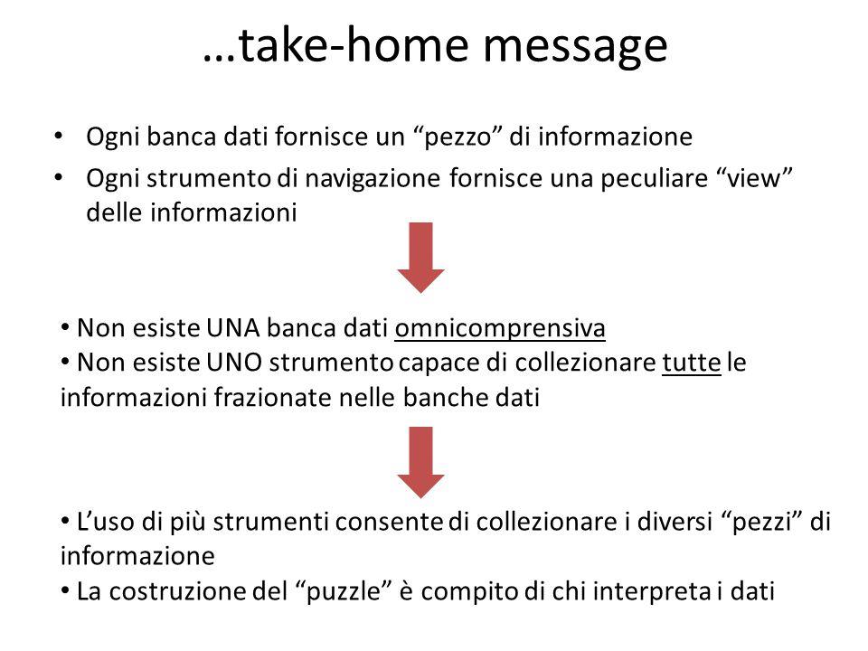 """…take-home message Ogni banca dati fornisce un """"pezzo"""" di informazione Ogni strumento di navigazione fornisce una peculiare """"view"""" delle informazioni"""