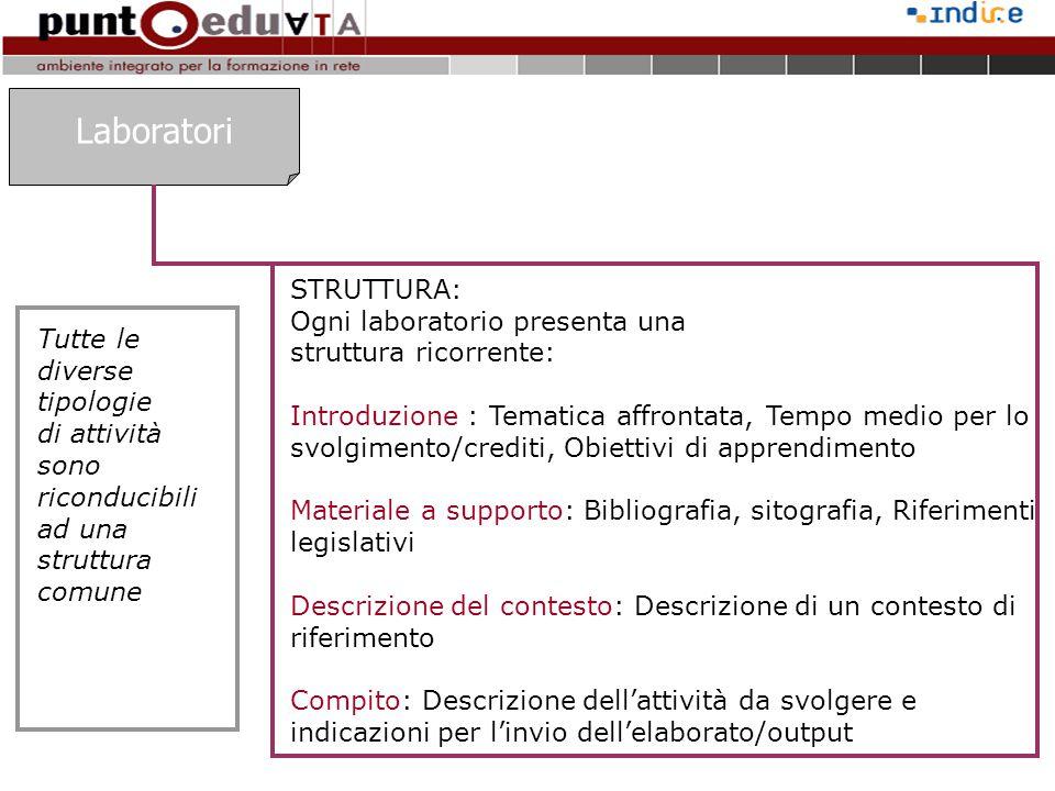 Laboratori STRUTTURA: Ogni laboratorio presenta una struttura ricorrente: Introduzione : Tematica affrontata, Tempo medio per lo svolgimento/crediti,