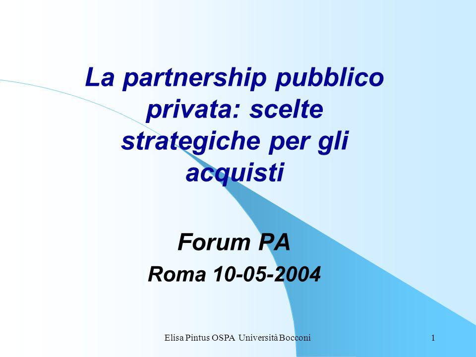 Elisa Pintus OSPA Università Bocconi1 La partnership pubblico privata: scelte strategiche per gli acquisti Forum PA Roma 10-05-2004
