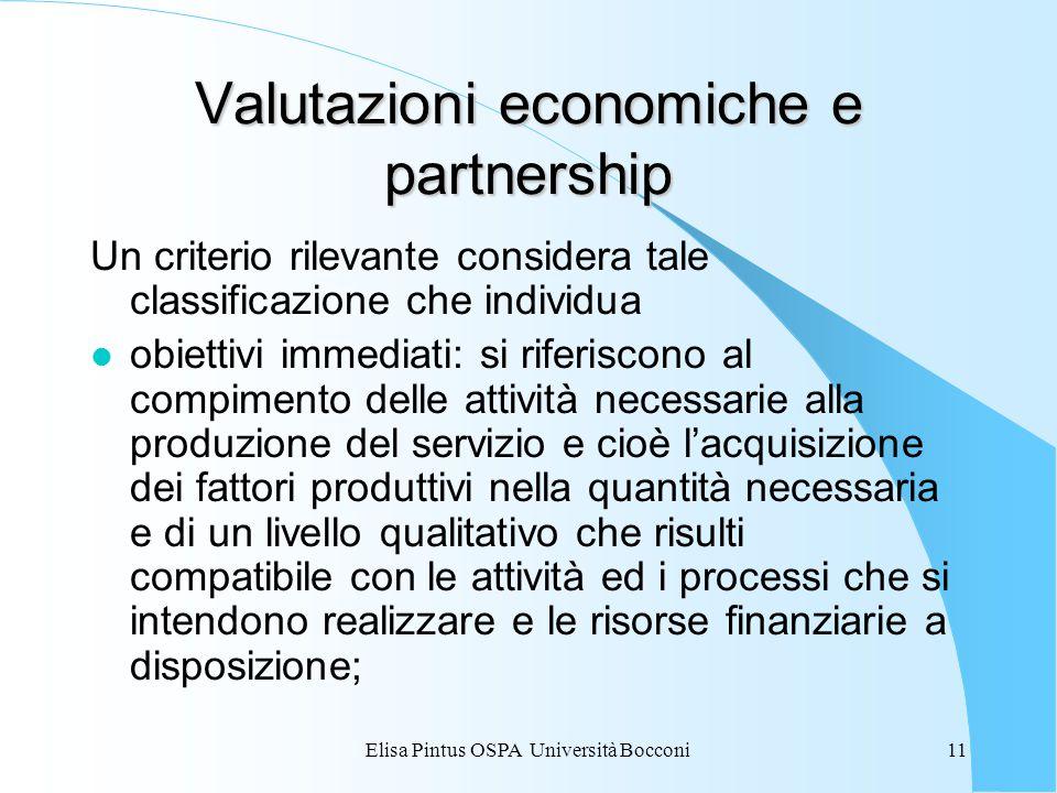 Elisa Pintus OSPA Università Bocconi11 Valutazioni economiche e partnership Un criterio rilevante considera tale classificazione che individua l obiet