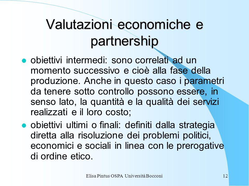 Elisa Pintus OSPA Università Bocconi12 Valutazioni economiche e partnership l obiettivi intermedi: sono correlati ad un momento successivo e cioè alla