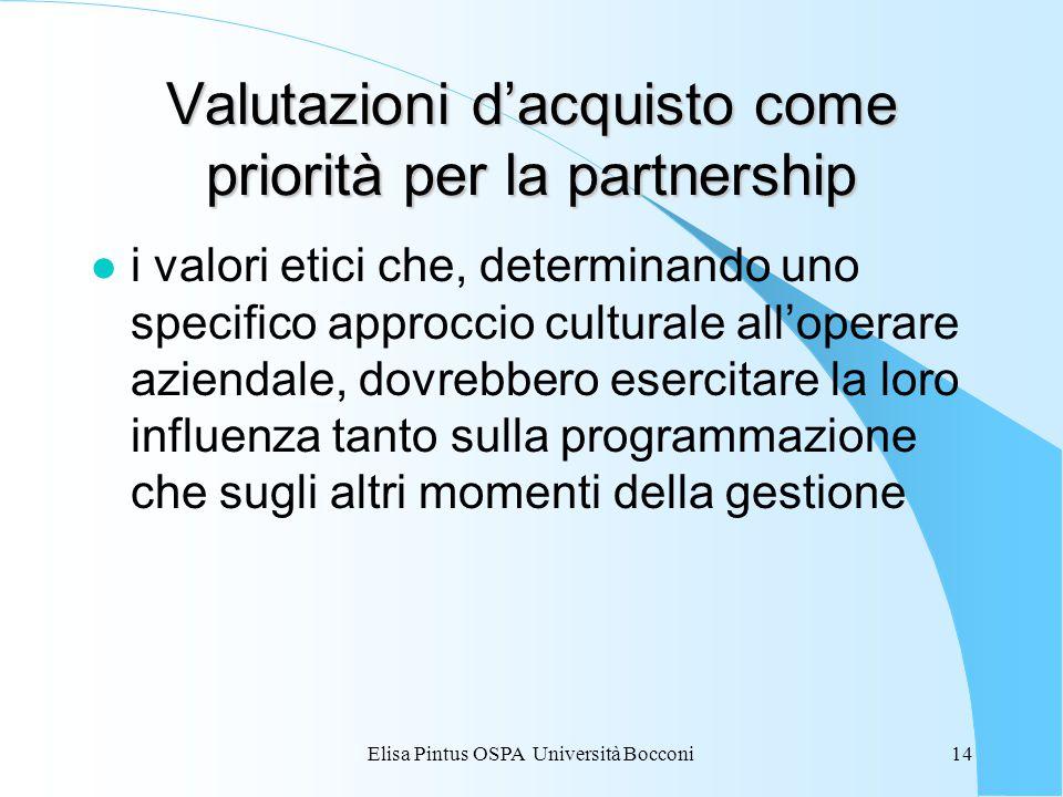 Elisa Pintus OSPA Università Bocconi14 Valutazioni d'acquisto come priorità per la partnership l i valori etici che, determinando uno specifico approccio culturale all'operare aziendale, dovrebbero esercitare la loro influenza tanto sulla programmazione che sugli altri momenti della gestione