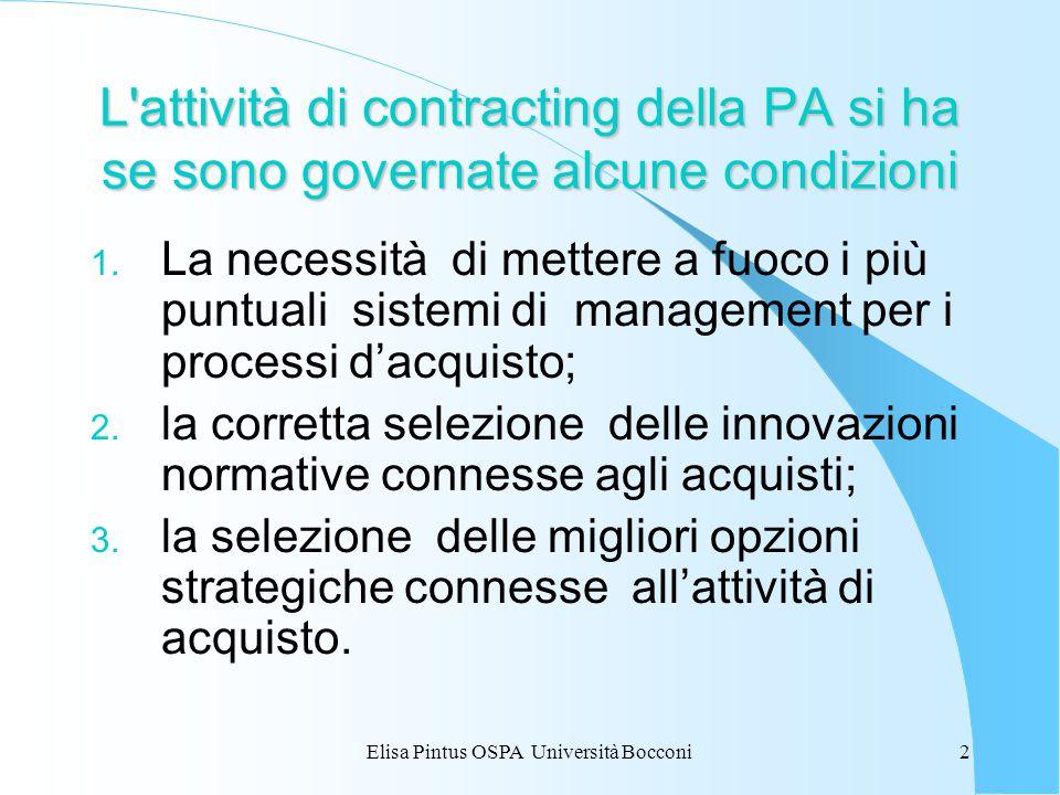 Elisa Pintus OSPA Università Bocconi2 L'attività di contracting della PA si ha se sono governate alcune condizioni 1. La necessità di mettere a fuoco