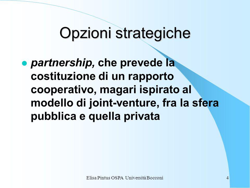 Elisa Pintus OSPA Università Bocconi4 Opzioni strategiche l partnership, che prevede la costituzione di un rapporto cooperativo, magari ispirato al modello di joint-venture, fra la sfera pubblica e quella privata