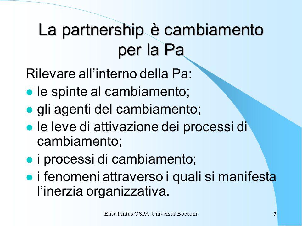 Elisa Pintus OSPA Università Bocconi5 La partnership è cambiamento per la Pa Rilevare all'interno della Pa: l le spinte al cambiamento; l gli agenti del cambiamento; l le leve di attivazione dei processi di cambiamento; l i processi di cambiamento; l i fenomeni attraverso i quali si manifesta l'inerzia organizzativa.