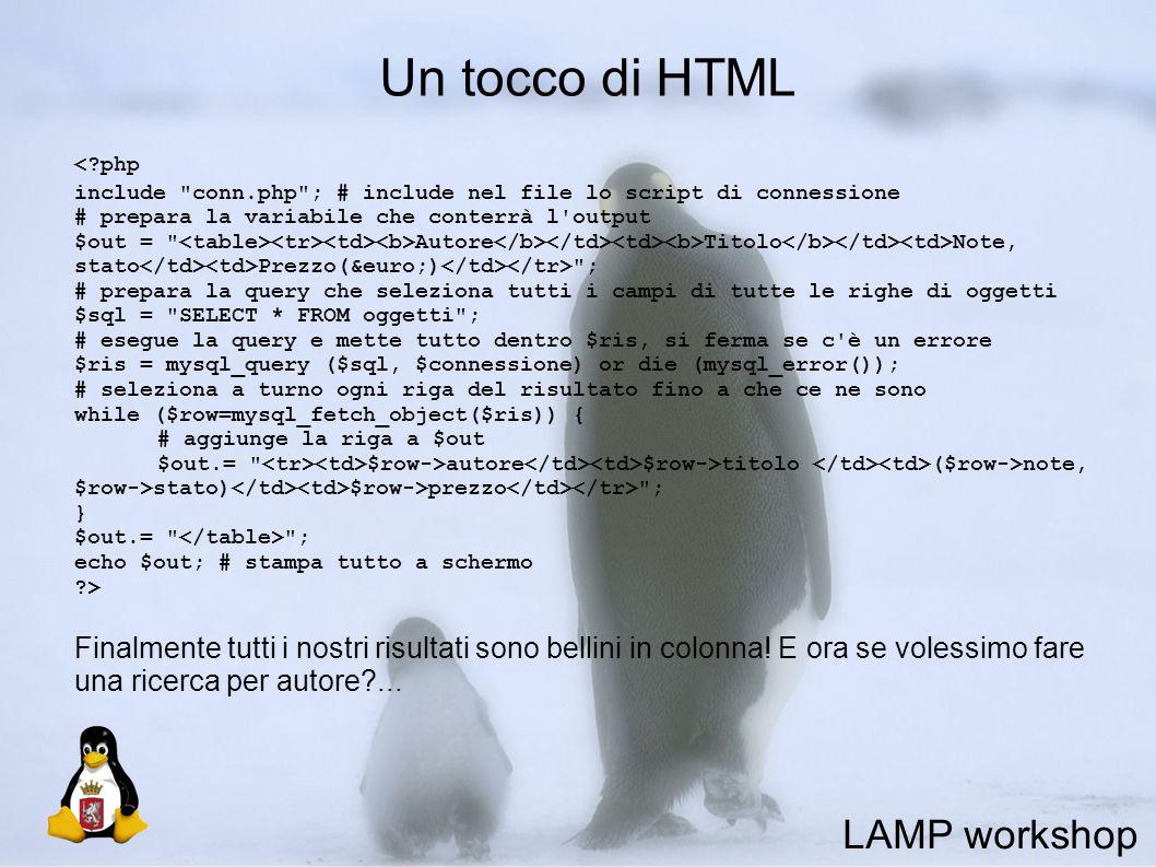 Un tocco di HTML <?php include